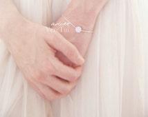 Minimal Flat Brushed Circle Disc Bracelet in Silver