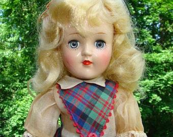 1949 Ideal Toni Doll P-90 Blond Plaid Jumper Dress Oil Cloth Shoes Original Box