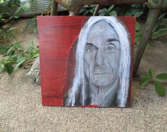 Iggy Pop art print decoupaged on reclaimed wood, Iggy Pop painting, painting on wood, proto-punk, punk rock, the stooges