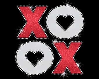 XOXO Hugs And Kisses With Rhinestone Outline Valentine's Day Iron On Glitter Vinyl Heat T-shirt Transfer