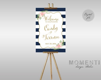 Printable Wedding Welcome sign, Welcome sign stripe floral printable, Reception sign printable, Nautical welcome sign,The Shirley Collection