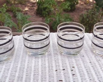 Vintage 1980s Retro Anchor Hocking Metallic Gray / Black / White Striped Rocks / Old-Fashioned Glasses (Set of 4)