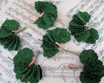 72 Vintage Green Velvet Leaves Lot Made in Japan 1950's Flocked Geranium Millinery Floral Florist Craft Lot Leaf Unused Dead Stock Mint