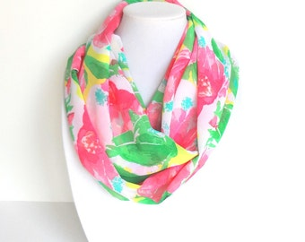 Tropical Scarf, Colorful Scarf, Floral Infinity Scarf, Chiffon Scarf, Sheer Scarf, Fashion Scarf, Summer