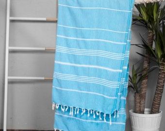 Turkish Towel Aqua | Authentic Beach Towel Travel Throw Bath Towel Fouta Turkish Cotton Yoga Spa Blanket Sarong Summer Accessory Throw