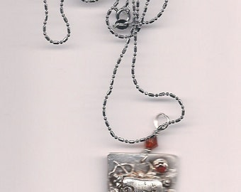 Handmade Artisan PMC 999 Fine Silver Dream Pendant Necklace w Swarovski Crystal & CZ Accents