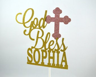 God Bless Personalized Glitter Cake Topper - Baptism Decoration - Christening Party Decor - First Communion - Confirmation - Religious