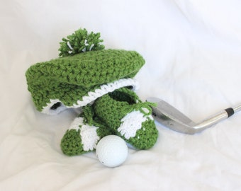 Crochet Baby Golf Hat with Pom Pom AND Crochet Baby Golf Shoes - Newsboy Hat and Baby Booties
