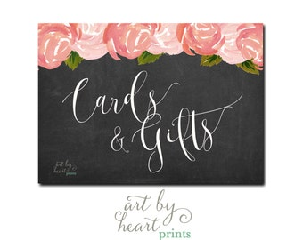 Wedding Gifts Sign / Wedding Cards and Gifts Sign / Shower Gifts Sign Chalkboard Printable INSTANT DOWNLOAD
