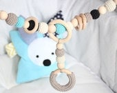 Baby stroller chain / Crochet Pram chain / Baby mobile / Organic and natural / Beads are safe for teething / Stylish teething ring
