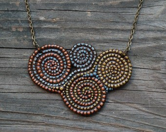 Polymer Clay Spiral Bib Necklace, Red Green Blue Statement Jewelry, Handmade OOAK, Hippie Pagan Boho Fashion, Earthy Pendant