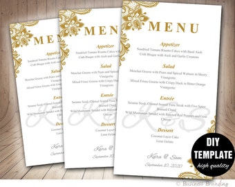 Gold Menu Template,DIY Gold Wedding Menu Card 4X7,Gold Wedding Menu Template Instant Download,Printable Wedding Menu Gold