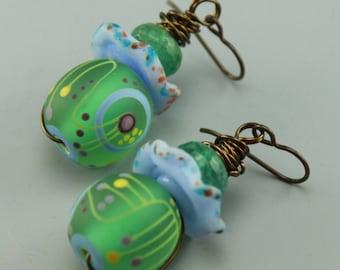 Boho Earrings, Beachy Earrings, Boho Beach Earrings, Statement Earrings, Aqua Green Earrings, #461-114
