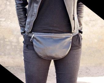 Black Fanny Pack, Leather fanny bag, black waist bag, handmade fanny pack, belt bag, bum bag, leather pocket bag, black hip bag, minimal