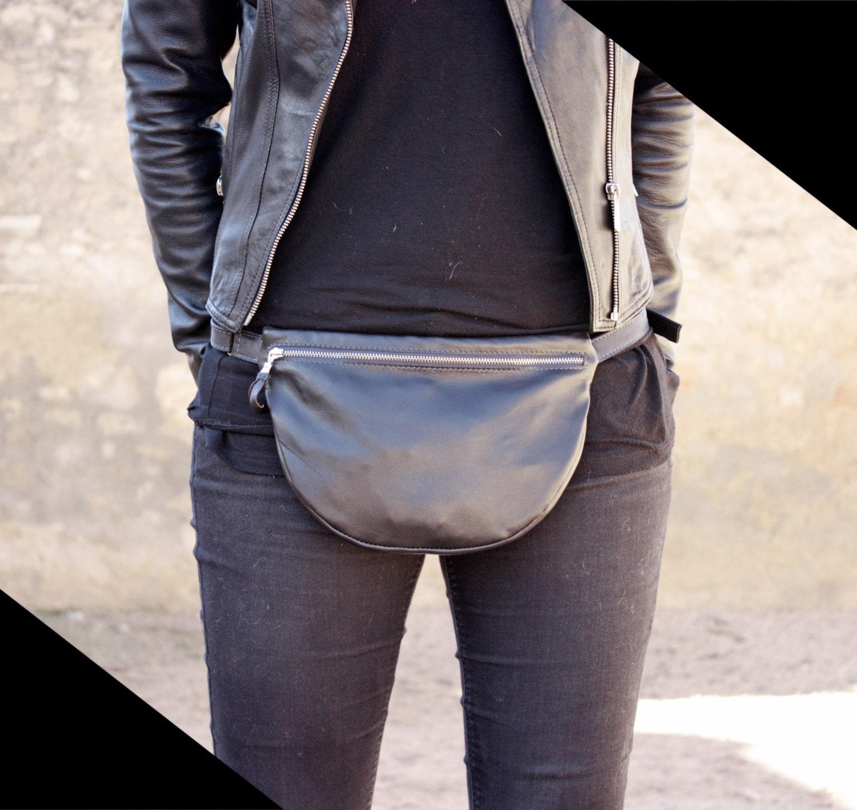 black fanny pack leather fanny bag black waist bag handmade. Black Bedroom Furniture Sets. Home Design Ideas