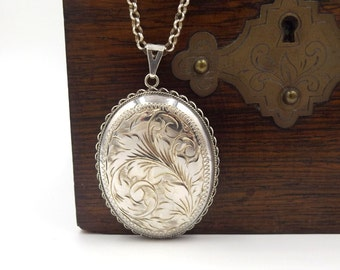 Large Sterling Silver Locket On A Chain | Huge Vintage Oval Locket Necklace | Very Big Engraved Locket Pendant