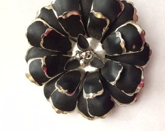 Black Flower Brooch