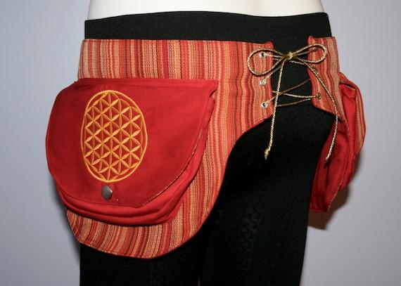 Flower of Life Fiery Pocket Belt - Utility belt - Festival belt - Hip bag - Corset Back - Sacred Geometry - Burning man - Fanny pack - Vegan