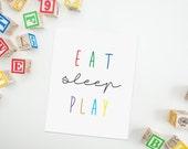 Eat Sleep Play Art Quote, Playroom Printable, Kids Bedroom Art, Colorful Art Print, Playroom Wall Art, Classroom Art Quote, Instant Download