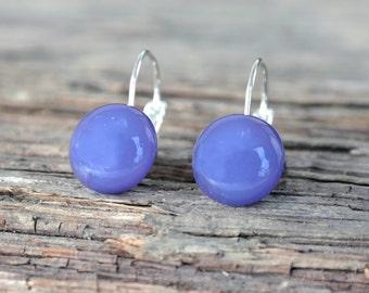 Purple dange earrings, leverback earrings, purople long earrings, purple leverback earrings