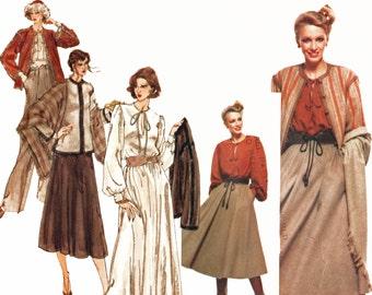 Vintage 1970s YSL Vogue Pattern Misses Jacket Blouse Skirt Pants and Shawl Pattern Yves Saint Laurent Vogue Paris Original 1736 Size 10