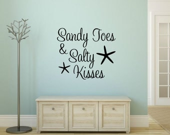 Sandy Toes and Salty Kisses Decal Beach Wall Decal Ocean Wall Decal Beach Vinyl Starfish Wall Decal Beach House Decal Beach Cottage Decal