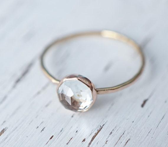 Rose-cut White Topaz Ring