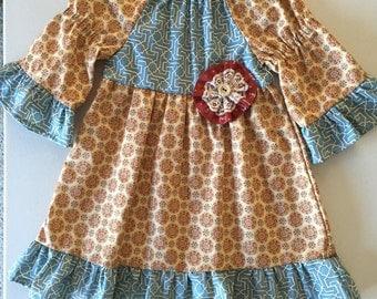 Beige Dress for Girl, Toddler Dress, Blue Ruffle Dress, Little Girl Dress, Girl Peasant Dress, Baby Girl Dress, Toddler Girl Dress