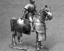 Handmade statuette. Knight Hospitaller. Cavalry. TOY SOLDIER 54mm. Pewter miniatures 1:32 scale. Metal figurine. Tin sculpture #6018Kl
