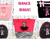 DANCE BAGS!  Monogrammed for your little ballerina!