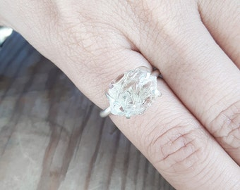 Herkimer diamond and sterling silver solitaire ring. Quartz crystal ring. Recycled jewelry