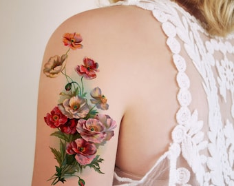 Large vintage floral temporary tattoo / flower temporary tattoo / boho temporary tattoo / floral fake tattoo / bohemian temporary tattoo