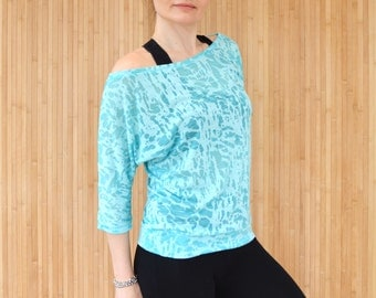 Turquoise Yoga Top, Pilates Top, Long Sleeved Active Tee, Burnout Jersey Tee, Womens Activewear