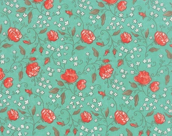 Moda Sweetness 17851 12 Sky, Sandy Gervais, Coral and Turquoise Floral Fabric, Flower Quilt Fabric, Cottage Chic Floral Cotton Yardage