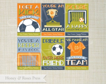 Soccer Valentine's Day Cards . Football Valentines . Kids Valentines Cards. Printable Sports Valentines . Instant Download