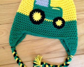 Crochet Tractor beanie earflap hat - Sizes Newborn - Adult available!