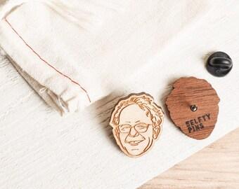 Bernie Sanders Pin - Laser Cut Wooden Lapel Pin