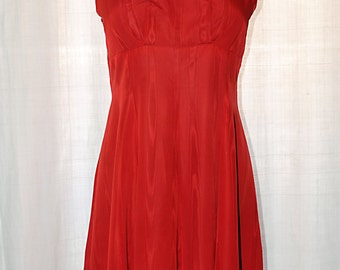 Vintage 1950s/ 50s/ 60s handmade red Moirè dress with bolero//Large size XL//XXL