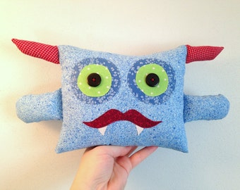 Monster Plush Pillow with Mustache & Fangs. Hand Stitched. One of a kind plushie.