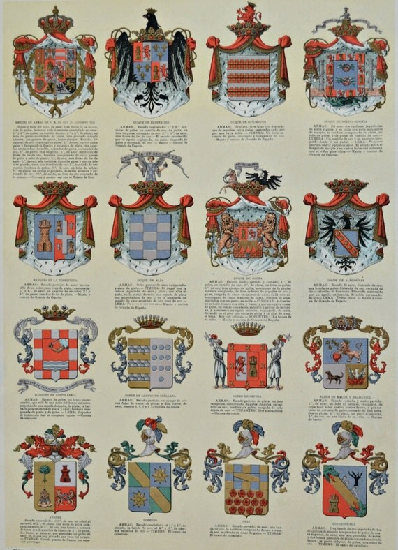 Escutcheon. Achievement of arms. Coat of arms.  Old book plate, 1910. Antique  illustration. 105 years lithograph. 9'4 x  12'5 inches.