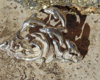 D'Molina ~ Vintage Sterling Silver Dolphins Playing in the Surf Pin