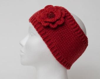 Bandeaux de laine rouge bandeau bandeaux tricot Headband fleur tricoté rouge en tricot bonnet fleur laine Tricoter bandeau laine bandeau en tricot