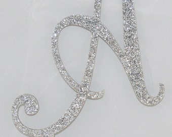 """Ready to Ship- 5"""" Tall Silver Glitter Letter A Monogram Cake topper"""