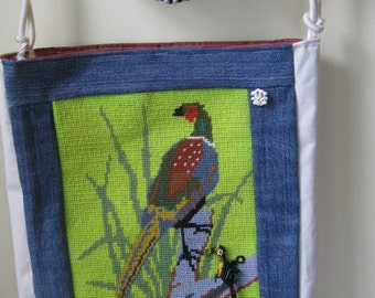 Handmade Boho Fiesta Needlepoint Bag Upcycled materials