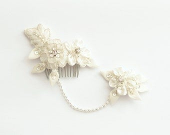 Bridal headpiece with crystals and beads, wedding headpiece, ivory bridal hair piece with wool and silk satin flowers and silk organza