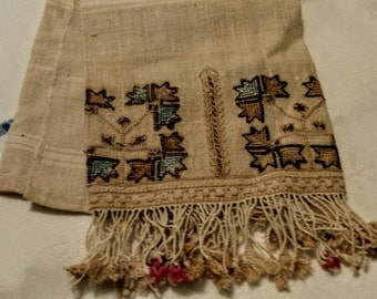 Antique linen tasseled guest towel - hand cross stitched and edged -  unbleached linen -  tea rose - Eastern Europen look