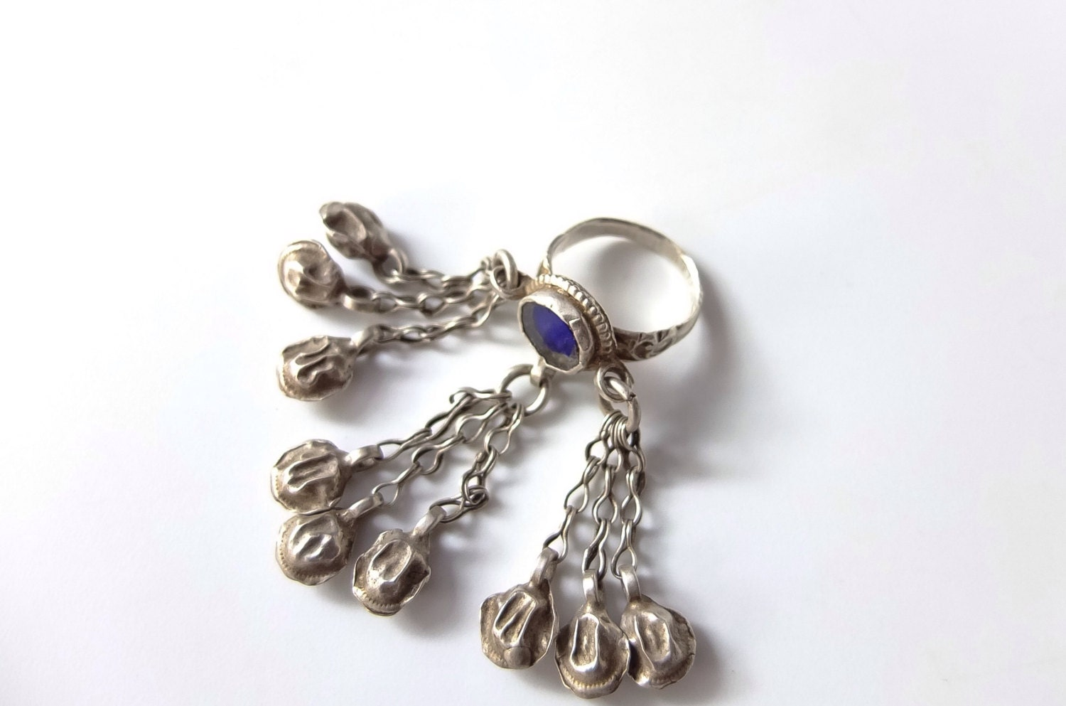 ethnic ring silver chains ring bells cluster tribal