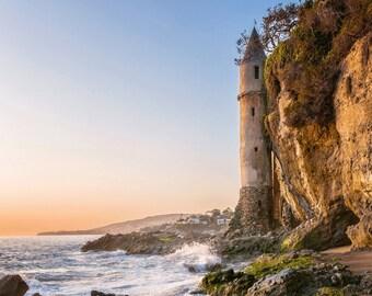 Laguna Beach Photography Print or Wrapped Canvas Victoria Sunset Castle California Coast Landscape Fine Art Photograph Wall Art Decor