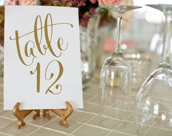 1-30 Antique Gold Wedding Table Numbers, Printable Wedding Table Numbers, Vintage Wedding Decor, 5x7 Table Number Card, INSTANT DOWNLOAD