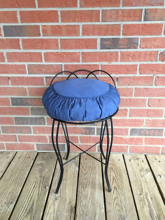 Vintage Mid Century Black Wrought Iron Vanity Stool Bathroom